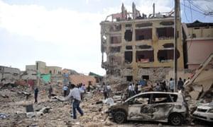 The scene of an al-Shabaab attack in Mogadishu
