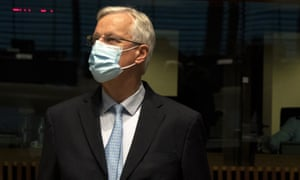 Michel Barnier attending a meeting at the European council in Luxembourg.