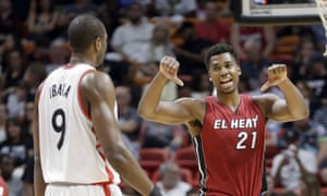 Hassan Whiteside, seen here giving two thumbs-down to Serge Ibaka, is finding consistency to match its explosiveness.