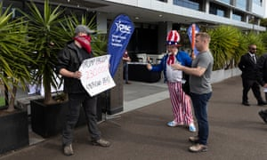 A protester outside the Australian Conservative Political Action Conference in Sydney