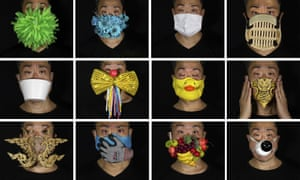 This combination of photos shows Edmond Kok, a Hong Kong theater costume designer and actor, wearing a variety of face masks he made to protect against the coronavirus in Hong Kong Thursday, 6 August 2020.