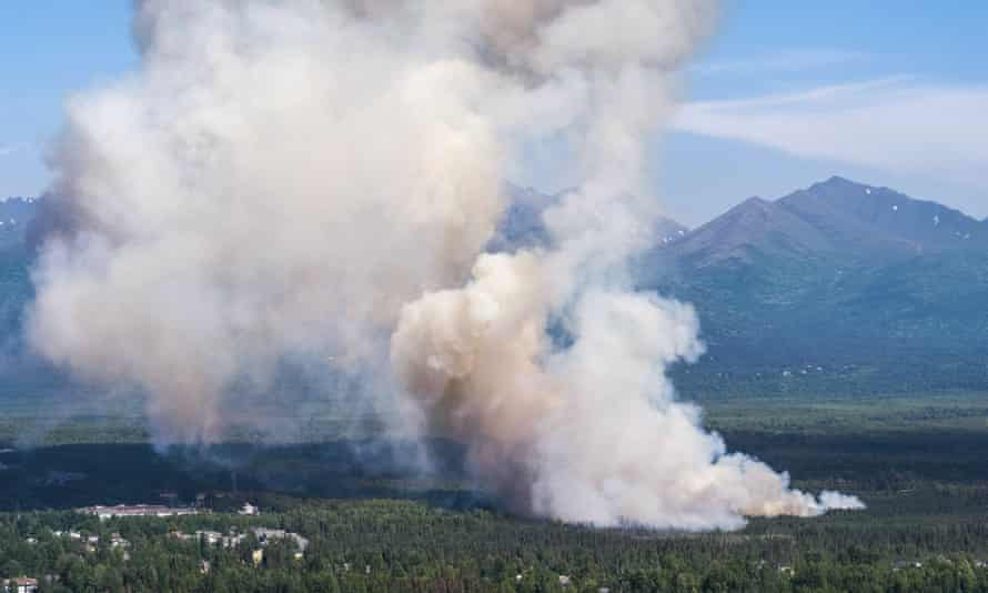 A brush fire burns in South Anchorage, Alaska, on 2 July.