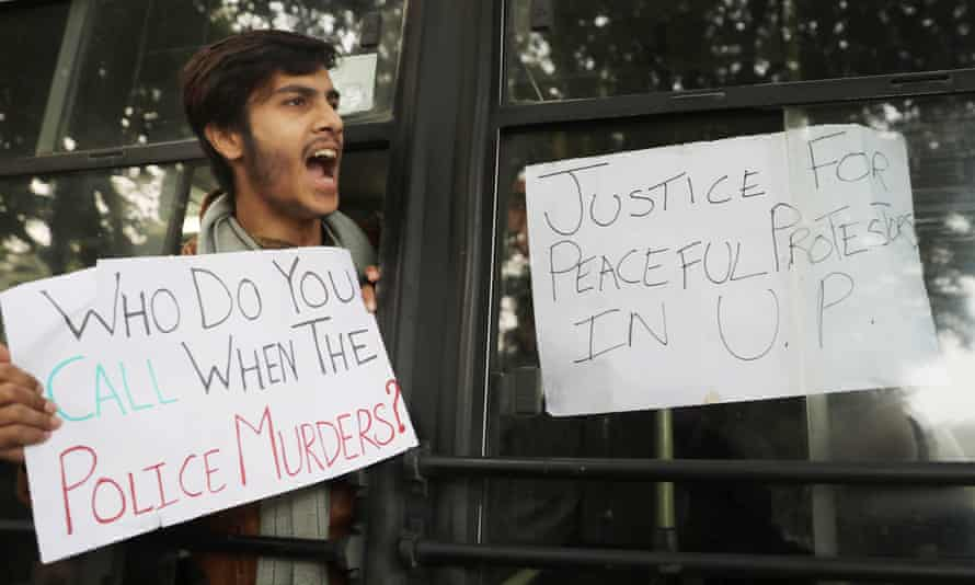 An anti-police-brutality protester in India in 2019
