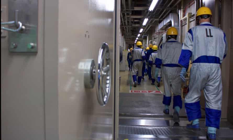 Workers at Kashiwazaki-kariwa nuclear power plant in Niigata Prefecture, Japan.
