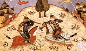 Persian manuscript showing the battle between Rustam and his son Sohrab.