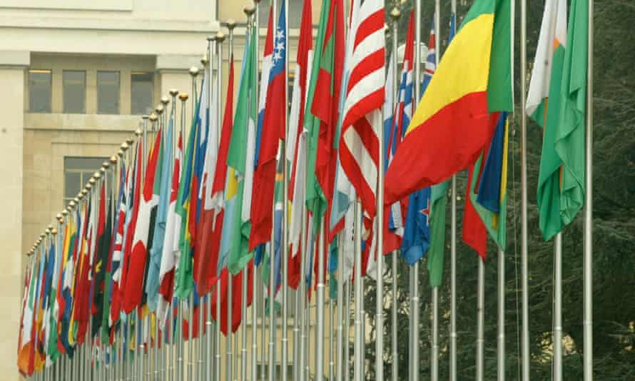 Flags in front of the United Nations headquarters in Geneva, Switzerland