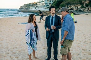 Yael Stone, Noah Taylor and director Shawn Seet on set in Bondi for Deep Water