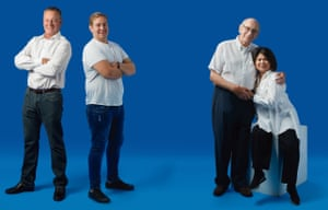 From left: Steve Abbott with son Ben; David and Martha Myers, members of a kidney donation chain.