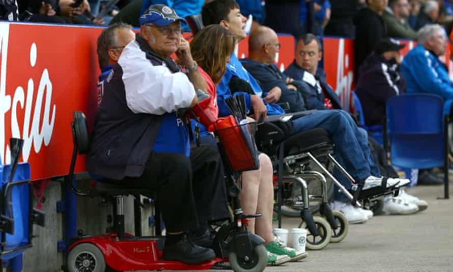 Disabled Leicester City fans watch the Premier League match against Burnley.