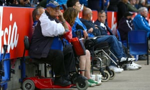 Disabled Leicester City fans at the King Power stadium