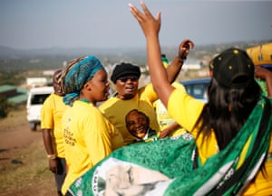 ANC supporters sing and dance in Nkandla
