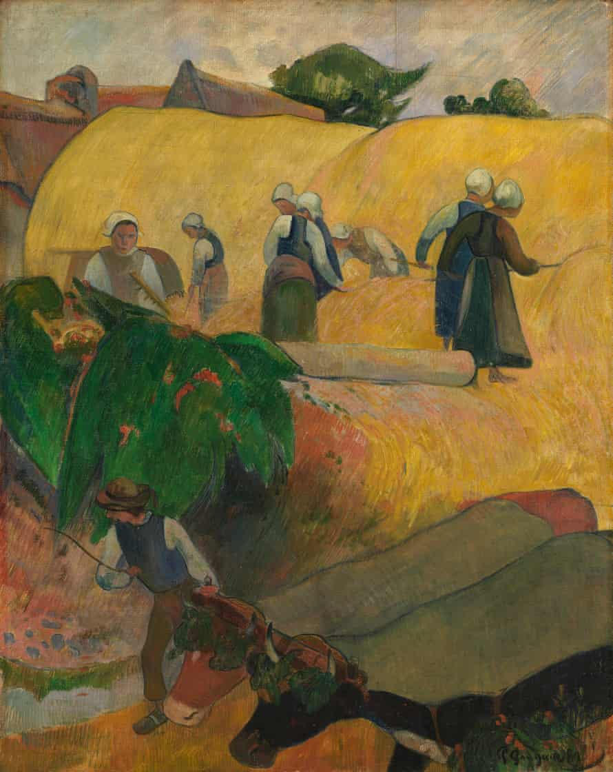 The Haystacks, 1889 by Paul Gauguin, with its 'wildly elevated viewpoint'.