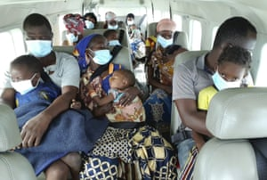 People fleeing fighting in northern Mozambique are evacuated by plane to the port city of Pemba