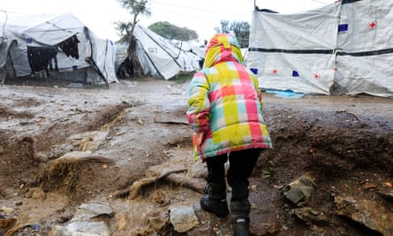A child at the Moria refugee camp on Lesbos