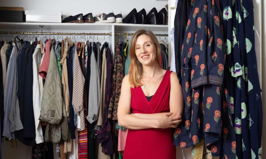 Morwenna Ferrier with her wardrobe full of secondhand clothes