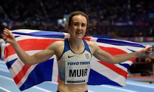 Laura Muir celebrates winning a silver medal in the 1500m at the world indoor championships in Birmingham.