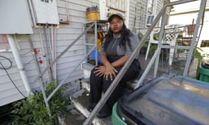 Tanya Harrell outside her home in Gretna, Louisiana. Harrell is one of 10 people who filed charges with the EEOC detailing widespread sexual harassment.