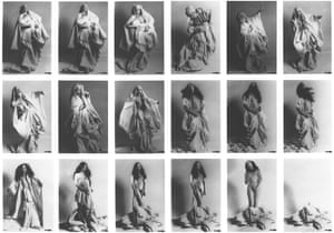 ORLAN, Occasional Striptease with linen from the trousseau, 1974-1975.