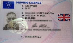 Driving licence in the name of Buzz Lightyear