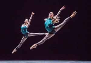 Sheering lines and diabolical speeds … Madison Keesler and Laurretta Summerscales perform In The Middle, Somewhat Elevated.