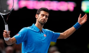 The strain shows on Novak Djokovic during his 6-4, 7-6 quarter-final defeat to Marin Cilic at the Paris Masters.