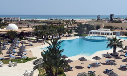 Empty sun loungers on the southern Tunisian resort island of Djerba.