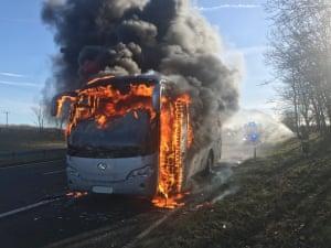 County Durham, England  A coach on fire