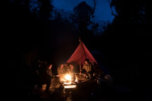 WWF staff and government forest rangers camping in wildlife corridor eight in northern Bhutan.