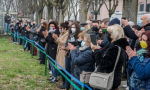 An event to inaugurate a memorial dedicated to the victims of the pandemic in Codogno in February 2021