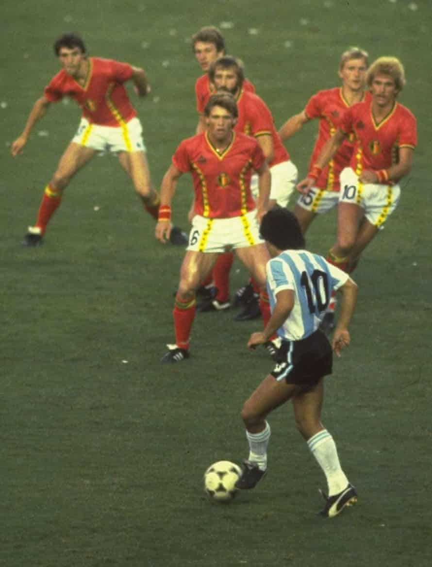Diego Maradona of Argentina is confronted by Belgium players during the World Cup. Photograph: Steve Powell via Getty Images