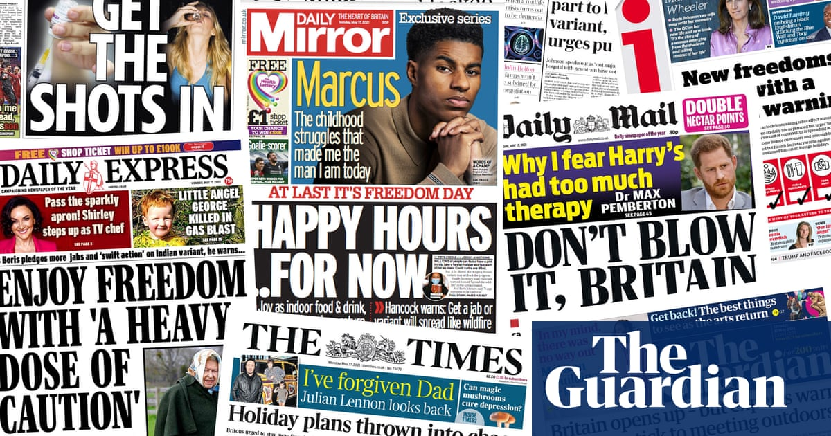 'Happy hours … for now': what the papers say about Britain emerging from lockdown