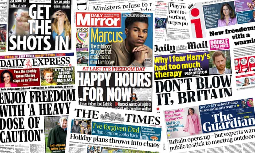 Newspaper front pages on Monday 17 May 2021 as the lockdown is eased further.