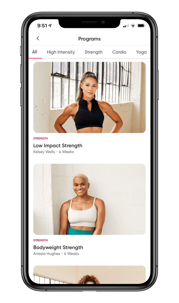 Screen shot of the Sweat app from Kayla Itsines.