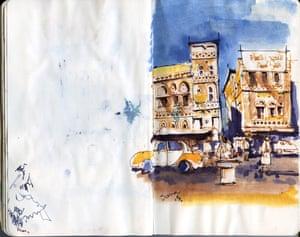 Sketch of Sana'a, Yemen, 2015 by Ghaith Abdul-Ahad