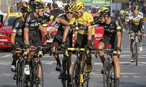 Chris Froome is congratulated by his team-mates on Sunday, but Team Sky are viewed by many cycling fans as over-moneyed Johnny-come-latelies who have bought success.