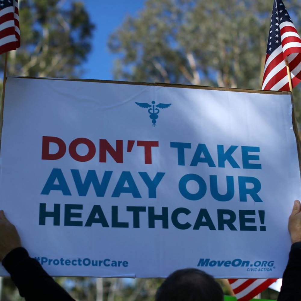 Demonstration over repeal of Obamacare in Vista, California