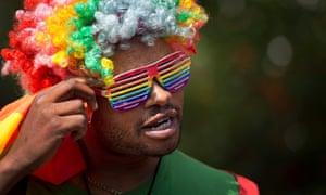 A gay rights activist in Nairobi, Kenya, at a protest against Uganda's criminalisation of homosexuality.