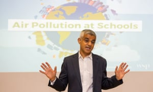 Sadiq Khan in front of air pollution in schools poster