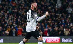 Wayne Rooney celebrates his first goal for Derby but his team went on to lose 3-2