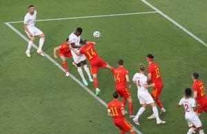 Switzerland's Breel Embolo heads the opening goal.