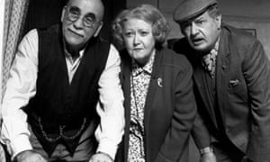 Warren Mitchell, McSharry, and James Ellis in the BBC series In Sickness and in Health,