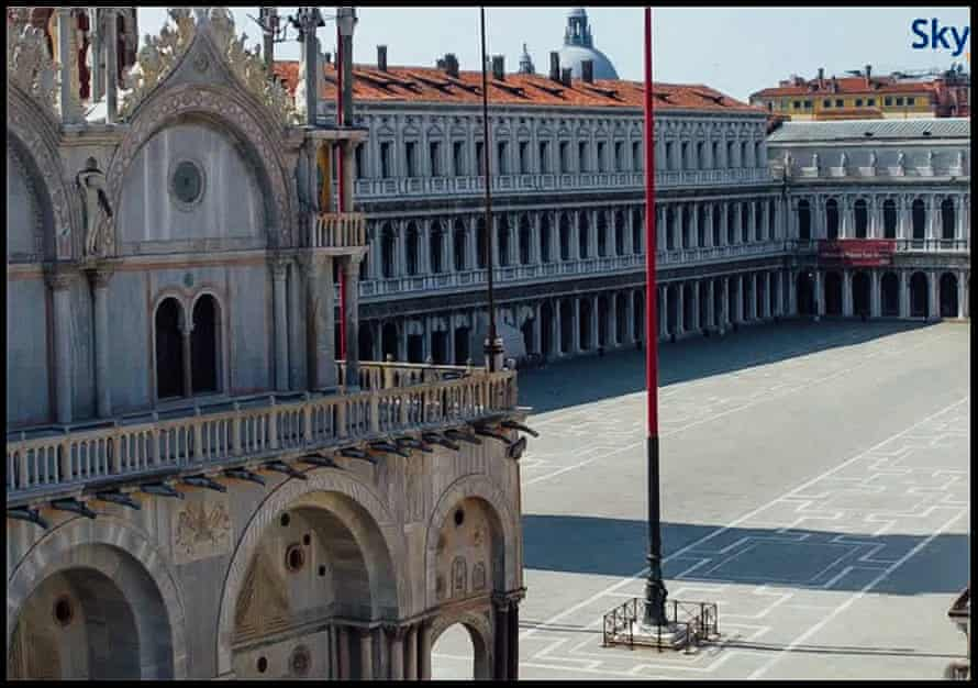 The deserted Piazza San Marco, Venice, in Italy at noon (GMT+2) on 4 April