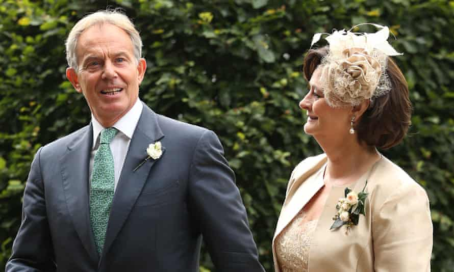 Tony Blair arrives with his wife Cherie at All Saints Parish Church for the wedding of Euan Blair and Suzanne Ashman