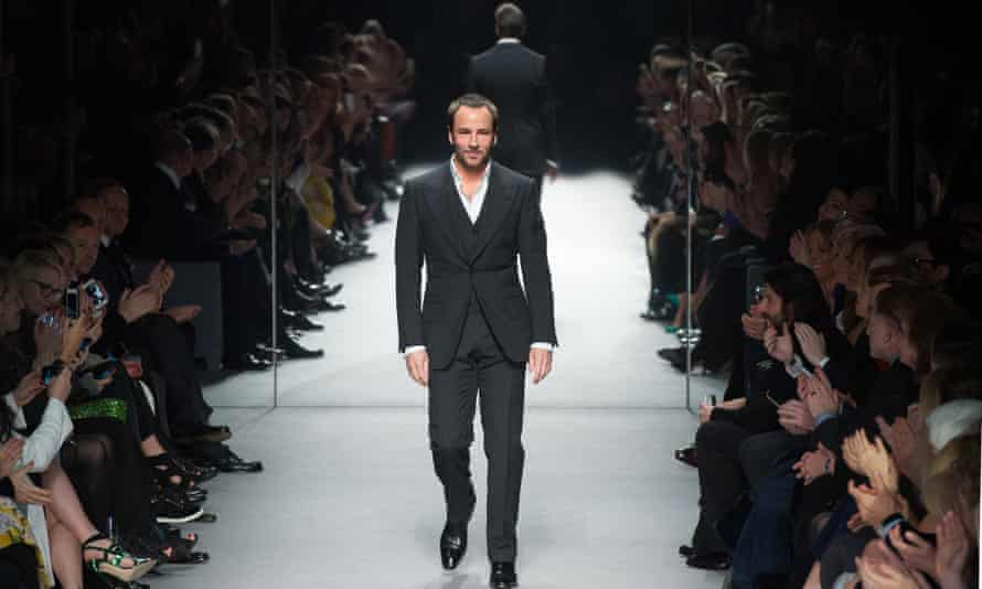 Ford walks the runway during his London fashion week show at Lindley Hall, February 2014.