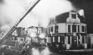 22 Hambrough Tavern, Southall ablaze following rioting against skinhead attacks 1981