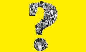 Montage of people forming a question mark