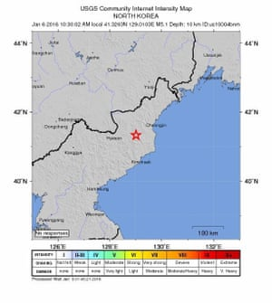 An intensity shake map released by the US Geological Survey 5 January shows the location where a preliminary 5.1 magnitude earthquake struck in North Korea.