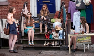 Lena Dunham as Hannah Horvath, Zosia Mamet as Shoshanna Shapiro, Jemima Kirke as Jessa Johansson and Allison Williams as Marnie Michaels in Girls