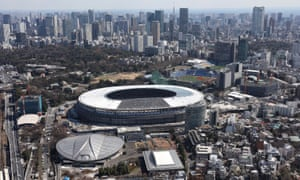 Japan's new national stadium taking shape in Tokyo, which will host the 2020 Olympics.