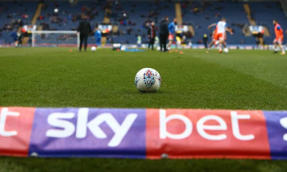 Skybet branding at Blackburn Rovers v Blackpool on March 2018